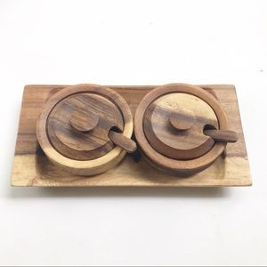 Other - Set of Two Wooden Bowls w/ spoons and serving tray